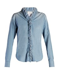 Etoile Isabel Marant Awendy Ruffled Chambray Shirt Light Denim