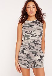 Missguided Jersey Camouflage Playsuit Green Green