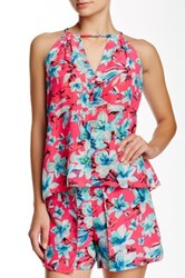 Nanette Lepore Lily Sleeveless Printed Halter Tank Pink