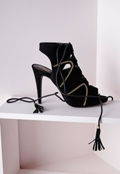 Missguided Lace Up Tassel Heeled Sandals With Gold Chain Detail Black Black