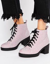 Truffle Collection Glitter Textile Lace Up Boot Pink Stretch White