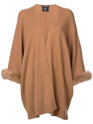 Sofia Cashmere Open Front Cardigan Brown