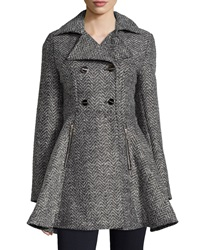 Laundry By Shelli Segal Tweed Double Breasted Swing Coat Black Gray