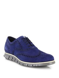 Cole Haan Wingtip Suede Oxfords Blue