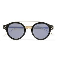 Cutler And Gross Round Frame Gold Tone Acetate Sunglasses Black