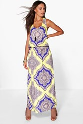 Boohoo Flora Neon Paisley Twist Back Maxi Dress Multi