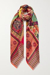 Etro Patchwork Cashmere And Silk Blend Scarf Green