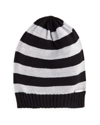Michael Michael Kors Striped Ribbed Trim Slouchy Hat Black Pear