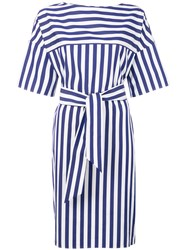Aspesi Striped Wrap Dress Blue