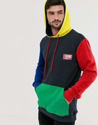 Only And Sons Logo Colour Block Hooded Sweat In Navy