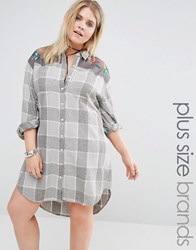 Alice And You Long Oversized Check Shirt With Embroidery Cream