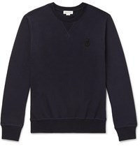 Alexander Mcqueen Slim Fit Skull Embellished Loopback Cotton Jersey Sweatshirt Blue