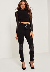 Missguided Faux Leather Quilted Knee Lace Up Leggings Black Black