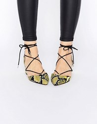 Asos Story Lace Up Pointed Heels Yellow