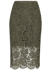 Diane Von Furstenberg Olive Lace Pencil Skirt