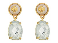 Tory Burch Epoxy Pearl Stone Earrings Crystal Vintage Gold Earring