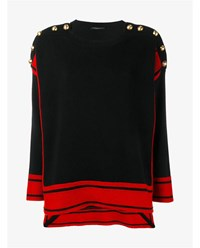 Alexander Mcqueen Oversized Cashmere Knit With Crew Neck Black Red
