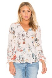 Rebecca Taylor Long Sleeve Meadow Floral Top Pink