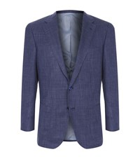 Stefano Ricci Woven Check Tailored Jacket Male Blue