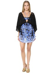Roberto Cavalli Printed Chiffon And Knit Lace Caftan Dress
