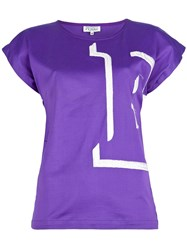 Gianfranco Ferre Vintage 'E' Embroidered T Shirt Pink And Purple