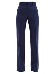 Gucci Kick Flare Slub Twill Trousers Blue