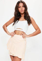 Missguided Tall Exclusive Nude Frill Detail Skirt