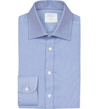 Smyth And Gibson Classic Panama Tailored Fit Cotton Shirt Blue