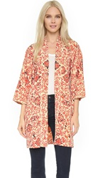 Wgaca Painted Floral Kimono Previously Owned Cream Red