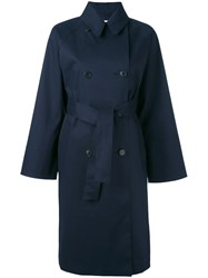 Mackintosh Wide Sleeve Trench Coat Women Cotton 32 Blue