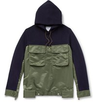 Sacai Oversized Cotton Blend Jersey And Shell Hoodie Navy