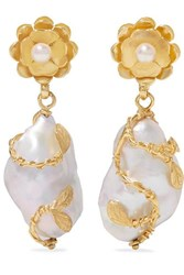 Of Rare Origin Hedera Gold Vermeil Pearl Earrings One Size
