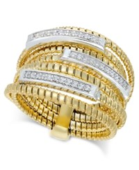 Macy's Diamond Multi Layer Statement Ring 1 4 Ct. T.W. In 14K Gold Plated Sterling Silver Gold Over Sterling Silver