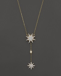 Bloomingdale's Diamond Starburst Drop Pendant Necklace In 14K Yellow Gold .40 Ct. T.W.