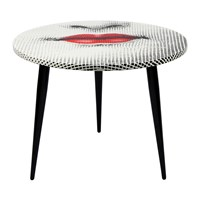 Fornasetti Bocca Table With Wooden Base 60Cm Dia