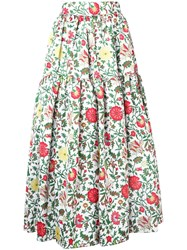 La Doublej Tiered Floral Skirt White