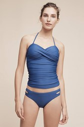 Anthropologie Twist Front Swim Tankini Blue