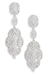 Nina Women's 'Glamorous' Crystal Drop Earrings Silver
