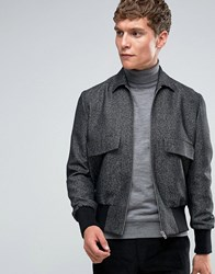 Asos Bomber Jacket With Collar In Tweed Grey