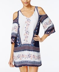 Speechless Juniors' Printed Cold Shoulder Shift Dress Navy Ivory