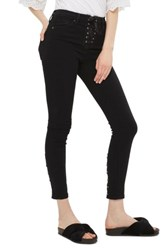 Topshop Women's Jamie Lace Up Fly Skinny Jeans Black