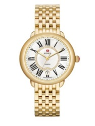 Michele Serein Diamond Mother Of Pearl And 18K Goldplated Stainless Steel Bracelet Watch