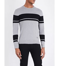 Armani Jeans Striped Knitted Jumper Grey