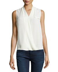 Neiman Marcus Cross Front Sleeveless Blouse Ivory