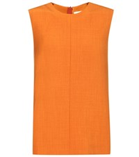 Victoria Beckham Sleeveless Wool Blend Top Orange