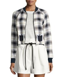 3.1 Phillip Lim Cropped Surf Plaid Bomber Jacket White Midnight Black Wht Midnight Blk