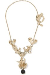 Valentino Hammered Gold Tone Necklace Usd