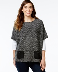 Jm Collection Marled Patch Pocket Poncho Only At Macy's Deep Black