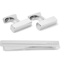 Hugo Boss Silver Tone Cufflinks And Tie Clip Set