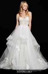 Women's Hayley Paige 'Chantelle' Strapless Lace And Tulle Ballgown In Stores Only